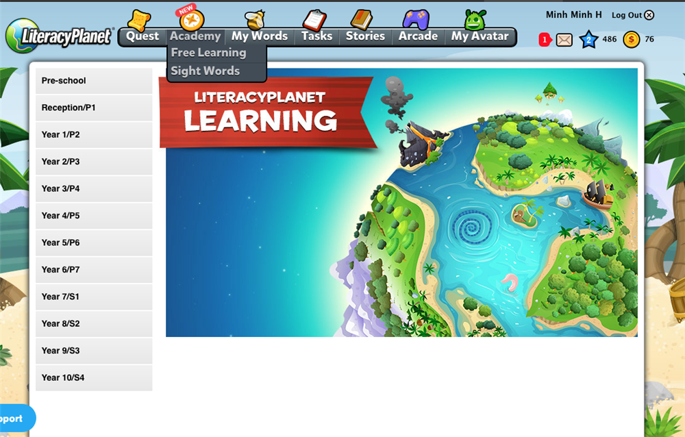 Free Learning trong Literacy Planet