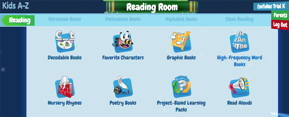 Kids A-Z Reading room